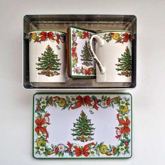 Spode Christmas Tree 5 Piece Tin Set